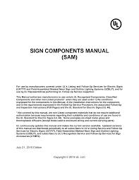 SIGN COMPONENTS MANUAL (SAM)