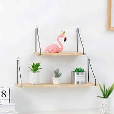 <b>Solid Wooden Wall Shelf</b> Iron Partition Board Bedroom TV <b>Wall</b> ...