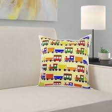 East Urban Home Nibbi <b>Cute Train</b> Print Primary Colors Stripe ...