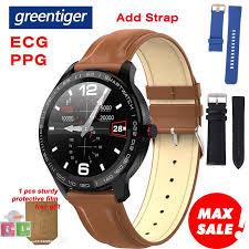Greentiger L9 <b>Smart Watch Men</b> ECG+PPG Heart Rate Blood ...