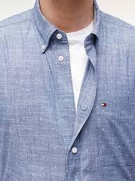 Adaptive Seated Fit Dot <b>Print Short Sleeve</b> Shirt | BLUE | Tommy ...