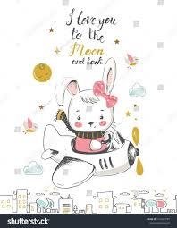 <b>Cute little bunny</b> flying on a plane <b>cartoon</b> hand drawn vector ...