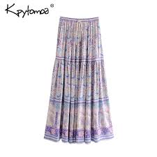 <b>Boho</b> Chic Summer Vintage Floral <b>Print</b> Long Skirt Women 2019 ...