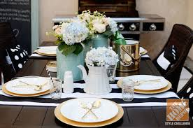 outdoor decorating ideas a beautiful black and white outdoor table setting with flowers and gold black and white outdoor furniture