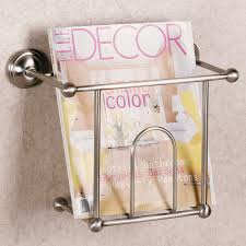 magazine rack wall mount:  brilliant wall mount metal magazine rack for bathroom magazine rack