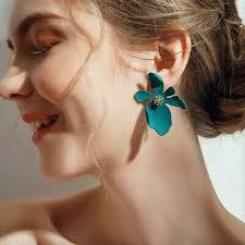 <b>2019 New</b> Fashion Boho Painting Big Flowers Ear <b>Stud Earrings</b> ...