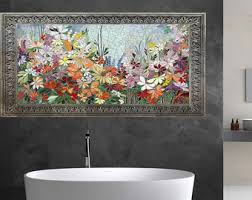 mosaic wall decor: floral garden mosaic wall art made to order bathroom wall relief decorative glass mosaic panel indoor or outdoor wall decor