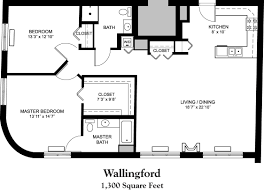 Senior Apartment Floor Plans   Whitney CenterWallingford Floor Plan     square feet