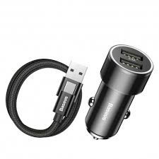 <b>BASEUS</b> 3.4A Dual USB Ports <b>Smart</b> Car Quick Charger + 2A 1M ...