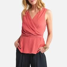 <b>Блузка</b> с <b>v</b>-<b>образным</b> вырезом без рукавов розовый <b>La Redoute</b> ...