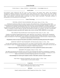 Resume Jewelry Manager Resumes Sle Template  happytom co