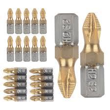 """Drill Bit 10Pcs/Set 25mm <b>1</b>/4"""" Thread <b>Shank</b> Titanium Alloy Anti-Skip ..."""