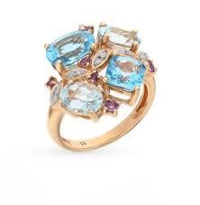 Золотое <b>кольцо</b> с <b>аметистом</b>, <b>топазами</b> и бриллиантами ...