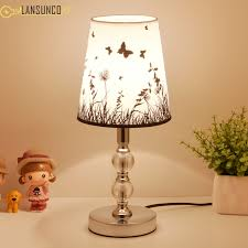 nordic crystal led table lamps fabric lampshade bedroom bedside lighting light living room desk luminaire fixtures