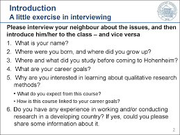 lecture qualitative research methods in rural development 2 introduction a little exercise in interviewing