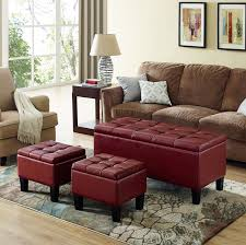 storage bench for living room: storage bench ottoman set tufted foot stool leather living room furniture seat