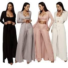 <b>3 piece set women</b> bandage lace up long sleeve cardigan coat ...