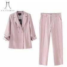 2019 Heydress 2019 <b>Women Summer Autumn</b> Striped <b>Pink</b> Blazer ...