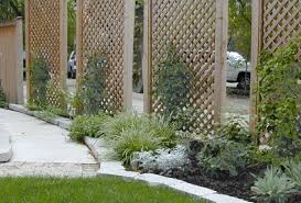 gallery outdoor living wall featuring: inspiring  interesting home garden exterior design featuring unfinished outdoor lattice privacy screen design with green plants attached as decorative fences for home garden ideas lattice screen designs exterior
