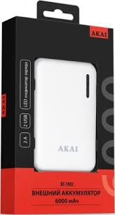 Внешний аккумулятор <b>Akai BE-5002</b> 6000mAh White