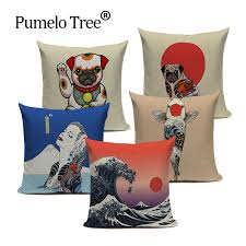 <b>Pug Dog</b> High Qualityfashion <b>Ethnic</b> Style Japanese Pillow Cover ...