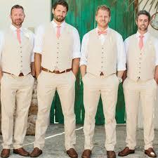 Online Shop Summer <b>Ivory</b> Linen <b>Men Suits for</b> Beach Wedding ...