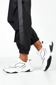 Contrast Sole Chunky Trainers With <b>Reflective Strip</b>   Boohoo