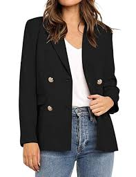Utyful Women's <b>Casual Notched</b> Lapel <b>Double Breasted Button</b> ...