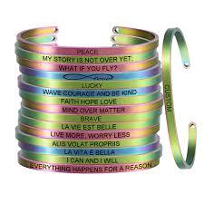 Rainbow 4MM FAITH HOPE LOVE <b>Stainless Steel</b> Positive ...