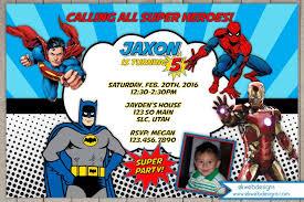 superheroes birthday invitations batman superman spiderman ironman invite batman superman iron man
