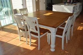 Dining Room Table And 8 Chairs Easy Diy Modern Square Farmhouse Dining Table With Oak Top And