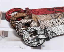 <b>Winfox Fashion Red</b> White 2.7cm Wide Snake Skin Belts For ...