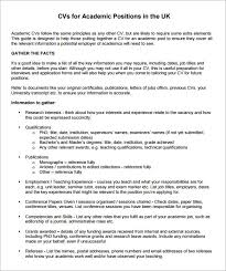 sample academic cv template     download documents in pdf   wordacademic cv template download