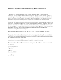 phd recommendation letter letter format  recommendation