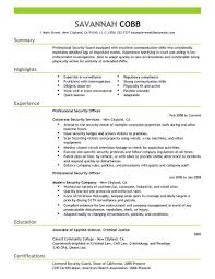 resume template sample resume for security guard entry level security guard sample resume