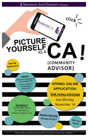 community advisor spring undergraduate staff positions community advisors cas are student employees trained to assist residents in both their transition and ongoing success to residence hall and apartment