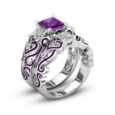 <b>Square</b> Shape <b>Zircon</b> Gem Rhinestone Enamel Pair Rings Jewelry ...