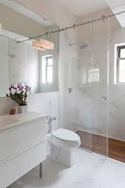 sliding bathroom mirror: sliding glass shower doors in bathroom contemporary with oversized bathroom mirror barn door shower