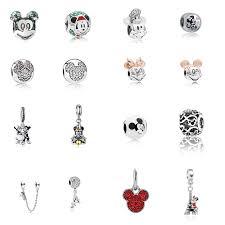 European Silver Mickey Minnie Charm <b>Enamel</b> Crystal Cartoon ...