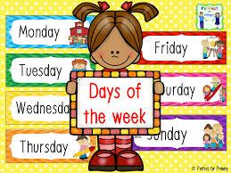Resultado de imagen de days of the week