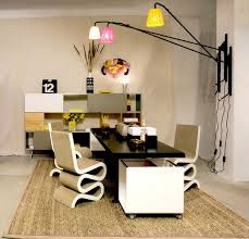 beige and white theme cool office interior with elegant black rectangle shaped office desk that beautiful office desks