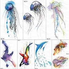 <b>Watercolor</b> Jellyfish <b>Temporary</b> Tattoos Sticker Ocean Draw Fake ...