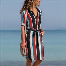 2019 Summer Dress Women Striped Beach Chiffon Mini ... - Vova