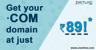 Cheapest .COM domain sale at INR 89 | ZNetLive