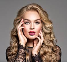 Blond <b>Woman</b> with <b>Long Curly Beautiful</b> Hair. Makeup. Fashion Make