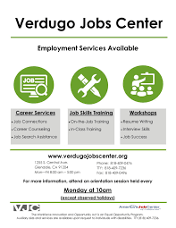 city of glendale ca verdugo jobs center vjc flyer