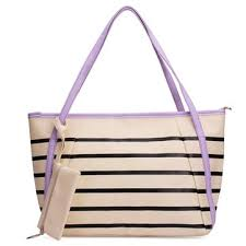 <b>Fashion</b> PU Leather Striped <b>Large Capacity</b> Handbag <b>Shoulder</b> Bag ...