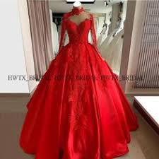 2020 <b>New Red Ball Gown</b> Quinceanera Dresses Illusion Long ...
