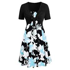 Voltina Women Dresses Suit Casual <b>Summer</b> Short Sleeve Bow ...