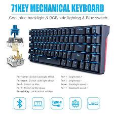 <b>RK71</b> Wireless/Wired <b>Mechanical Gaming Keyboard</b>, 71 Keys ...